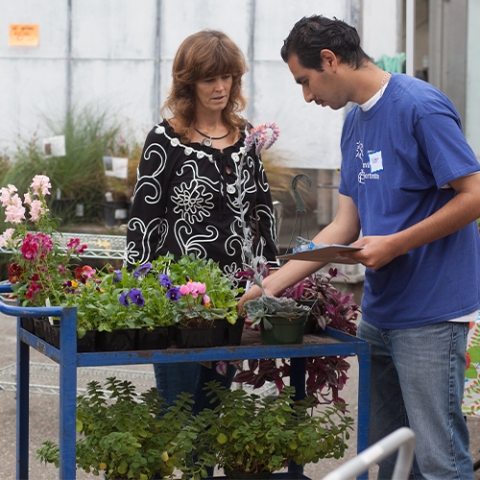 Horticulture Student at Plant Sale